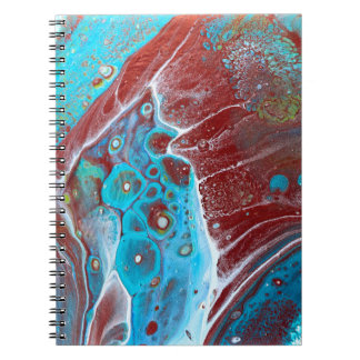 Teal and Copper Acrylic Pour Art Notebook