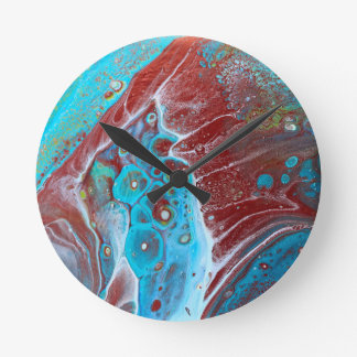 Teal and Copper Acrylic Pour Art Round Clock