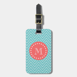 Teal and Coral Chevron with Custom Monogram Luggage Tag
