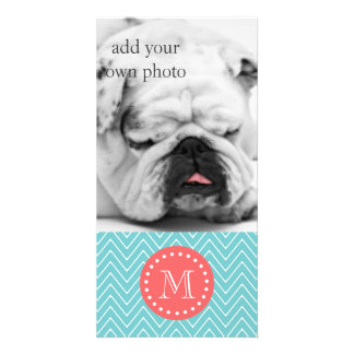 Teal and Coral Chevron with Custom Monogram Photo Cards