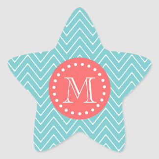 Teal and Coral Chevron with Custom Monogram Star Sticker