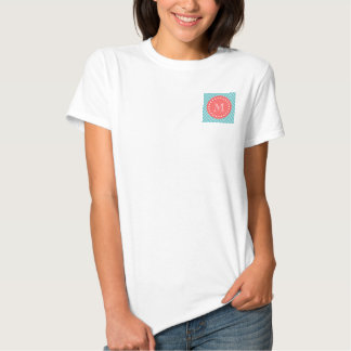 Teal and Coral Chevron with Custom Monogram Tee Shirts