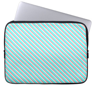 Teal and Coral Stripes Laptop Computer Sleeve