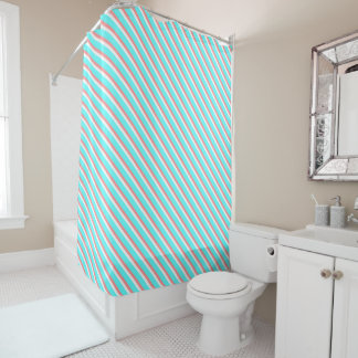 Teal and Coral Stripes Shower Curtain