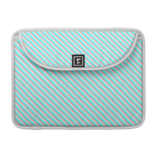 Teal and Coral Stripes Sleeves For MacBooks