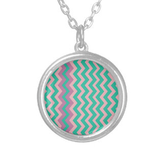 Teal and Cream Zigzags Bordered Round Pendant Necklace