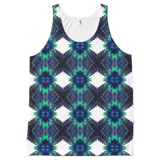 Teal And Dark Blue Dry Flower All-Over Print Singlet