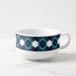 Teal And Dark Blue Dry Flower Soup Mug