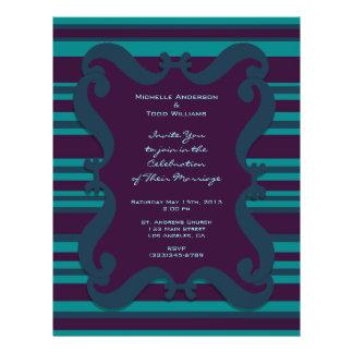 Teal and Dark Blue Striped Wedding 21.5 Cm X 28 Cm Flyer
