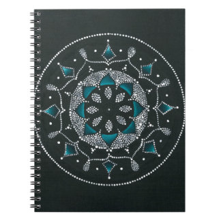 Teal and Dots Mandala Spiral Note Books