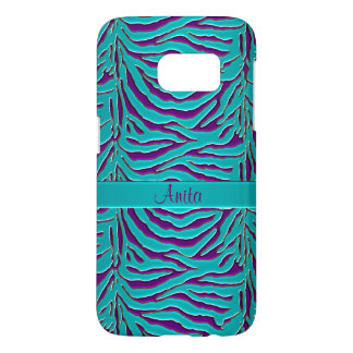Teal and Eggplant Zebra Personalized Animal Print