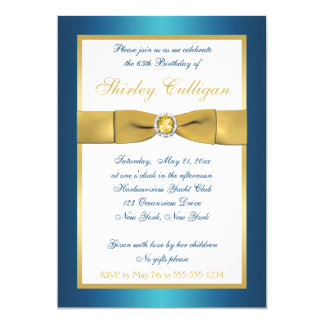 Teal and Gold 65th Birthday Invitation