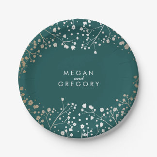 Teal and Gold Baby's Breath Wedding Paper Plate