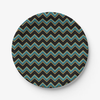 Teal and Gold Chevron Paper Plates