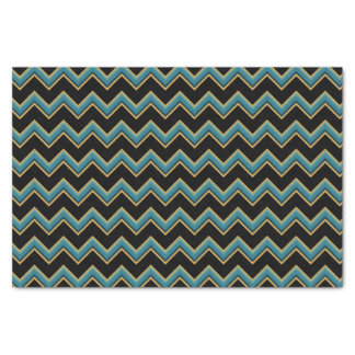 Teal and Gold Chevron Tissue Paper