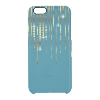 Teal and Gold Coins Sparkle Drape Elegant Luxury Clear iPhone 6/6S Case