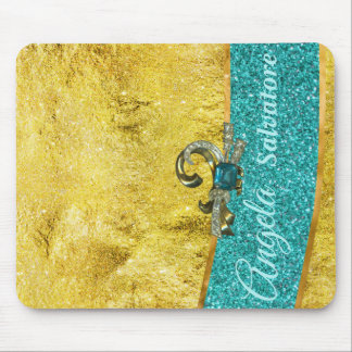 Teal and Gold Glamour Mouse Pad