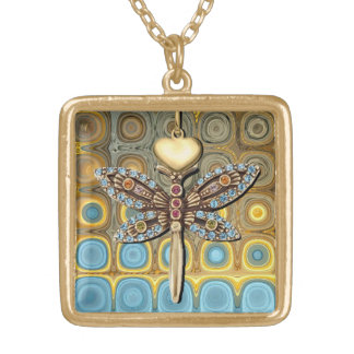 Teal and Gold Glass Blocks Gold Plated Necklace