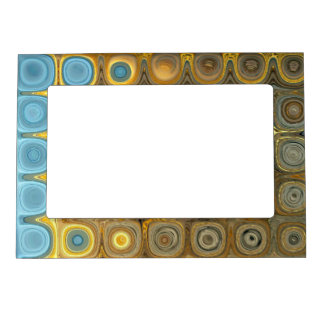 Teal and Gold Glass Blocks Magnetic Picture Frame