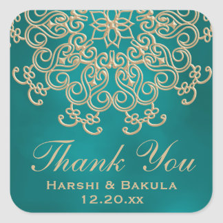 TEAL AND GOLD INDIAN INSPIRED THANK YOU LABEL