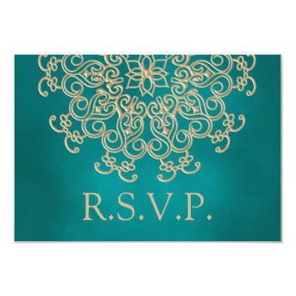 TEAL AND GOLD INDIAN RESPONSE RSVP CARD