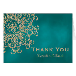 TEAL AND GOLD INDIAN STYLE WEDDING THANK YOU NOTE CARD
