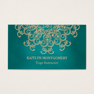 Teal and Gold Mandala Business Card