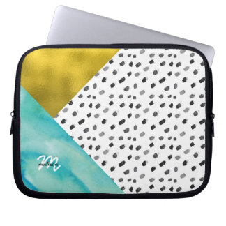 Teal and Gold Mixed Media Monogrammed Laptop Sleeve