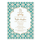 Teal and Gold Moroccan Baby Girl Baby Shower Card