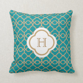 Teal and Gold Moroccan Monogram Cushion