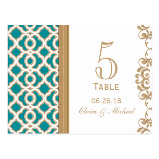 Teal and Gold Moroccan Wedding Table Number Postcard