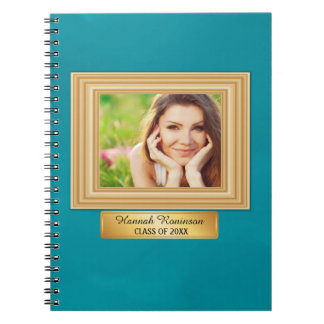 Teal and Gold Photo Graduation Year Notebook
