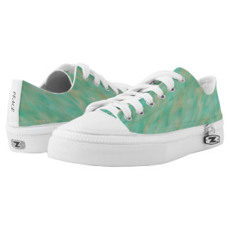Teal and Gold Wind Pattern Low Top Canvas Shoes