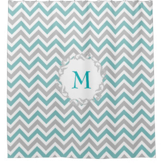Teal and Gray Chevron Pattern with Custom Monogram Shower Curtain