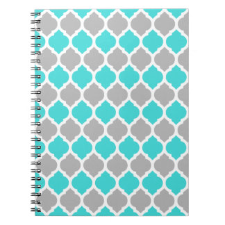 Teal and Gray Moroccan Lattice Notebook