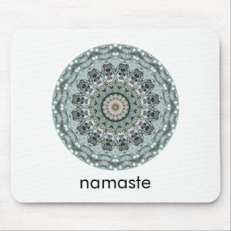 Teal and Gray Round Mandala Art Namaste Mouse Pad