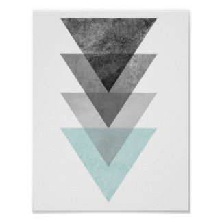 Teal and Gray Triangle Geometric Print