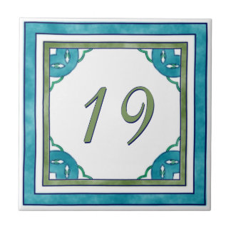 Teal and Green Big House Number Small Square Tile