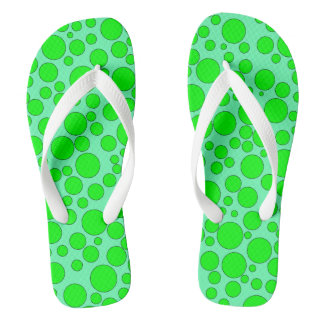 TEAL AND GREEN BUBBLES FLIP-FLOP THONGS