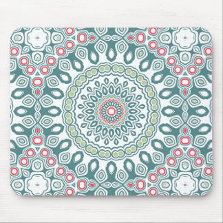 Teal and Green Global Style Medallion Mouse Pad