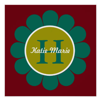 Teal and Green Granny Flower on Red Monogram Poster
