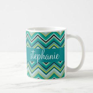 Teal and Green Huge Chevron Pattern Custom Name Coffee Mug