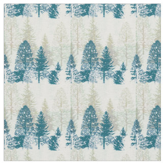 Teal and Green on Cream Wintry Snow Scene Fabric