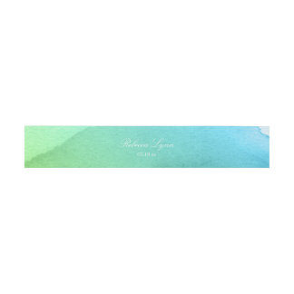 Teal and Green Watercolor Invitation Belly Band