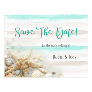 Teal and Ivory Stripes Seashells Save The Date Postcard