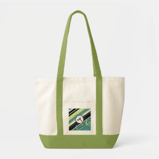 Teal and Lime Modern-Retro Stripes with Monogram Impulse Tote Bag