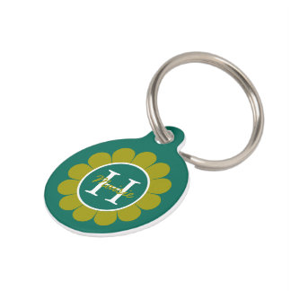 Teal and Olive Granny Flower Daisy Personalized Pet Tag