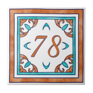 Teal and Orange Big House Number Small Square Tile