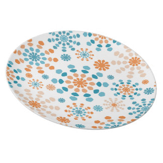 Teal and orange color bursts abstract mandala plate