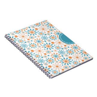 Teal and Orange fireworks bursts abstract circles Spiral Notebook